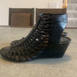 Torrid size 9.5 black strappy wedge sandal